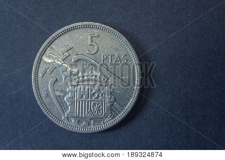1957 Spain Francisco Franco Five Peseta Tail Coin, Vintage Old, Difficult And Rare To Find.