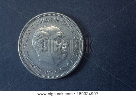 1957 Spain Francisco Franco Five Peseta Head Coin, Vintage Old, Difficult And Rare To Find.