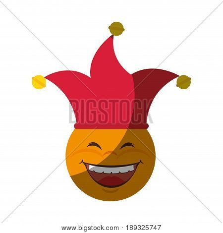 cartoon face with harlequin hat icon over white background. vector illustration