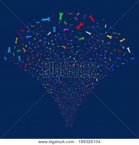 Spanners And Wrenches salute stream. Vector illustration style is flat bright multicolored iconic symbols on a blue background. Object fireworks fountain created from random design elements.