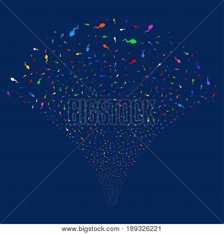 Spermatozoon salute stream. Vector illustration style is flat bright multicolored iconic symbols on a blue background. Object stream fountain combined from random symbols.