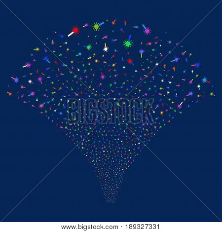 Wand Magic Tool salute stream. Vector illustration style is flat bright multicolored iconic symbols on a blue background. Object explosion fountain created from random pictographs.