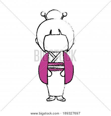 kimono japanese girl cartoon icon vector illustration graphic design