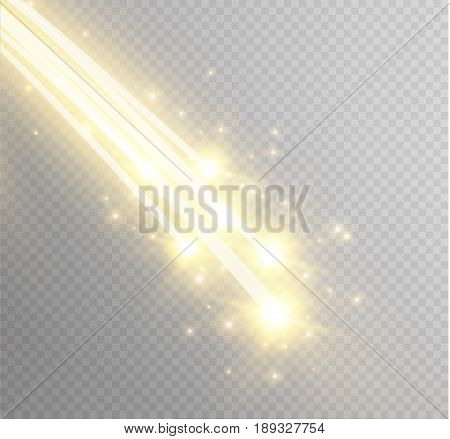 Abstract vector glowing magic star light effect from the neon blur of curved lines. Glittering stars dust trail from the side.flying comet on a transparent background.
