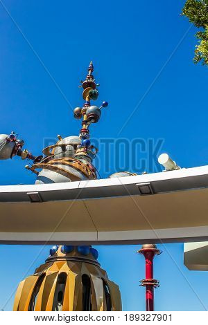 Anaheim, California, USA - May 2, 2017: Vibrant shot of Disneyland's Astro Orbitor ride located in Tomorrowland.