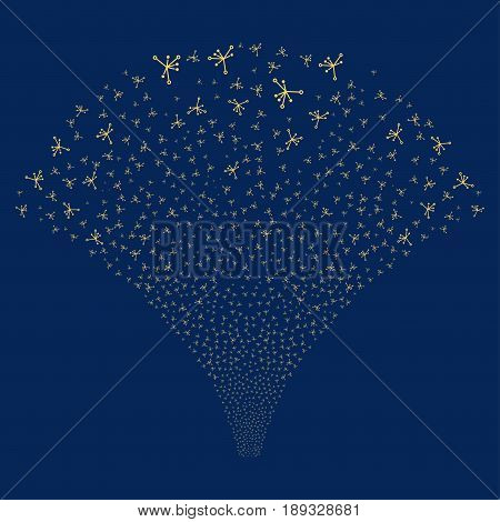 Big Bang salute stream. Vector illustration style is flat yellow iconic symbols on a blue background. Object fireworks fountain created from random symbols.