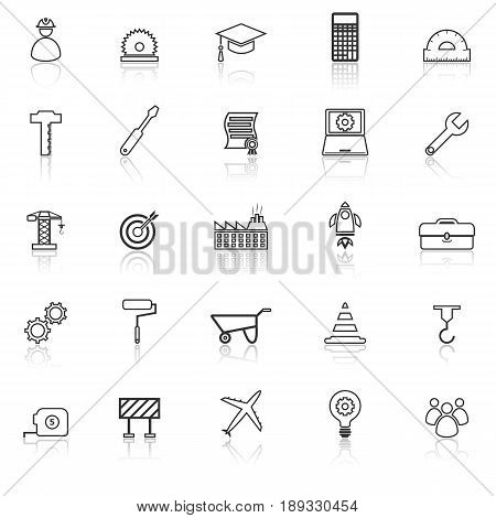 Engineering line icons with reflect on white background, stock vector