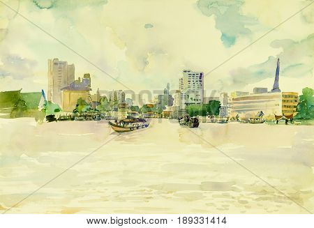 Watercolor landscape original painting colorful of Chao Phraya river city in Thailand and passenger ships emotion in blue sky cloud background