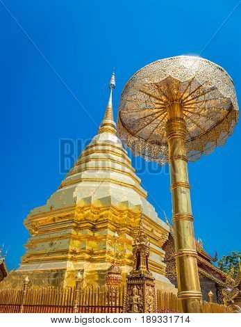 Abstract golden pagoda at Wat Phra That Doi Suthep is a Theravada buddhist temple near Chiang Mai Thailand