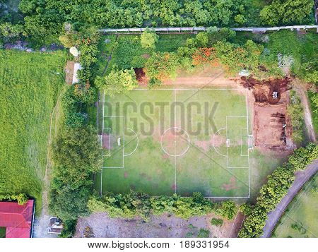 Soccer field in reconstruction aerial above top view