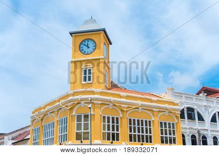 Old town or old buildings with clock tower in Sino Portuguese style is famous of Phuket Thailand