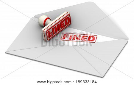 Fined. Seal and open postal envelope. Red seal and imprint