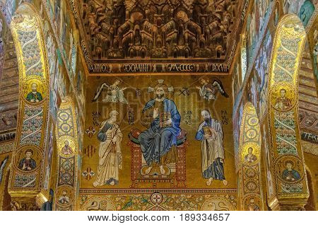 Byzantine style mosaic of Christ in Majesty with Peter and Paul in the Palatine Chapel (Cappella Palatina) of the Norman Palace (Palazzo dei Normanni) - Palermo Sicily Italy, 20/10/2011