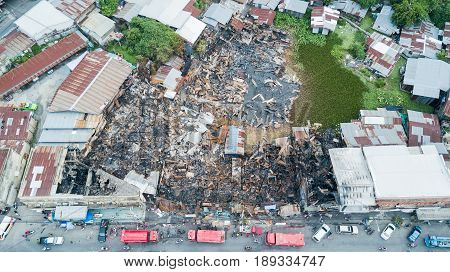 Old community home after fire and burned everything in the area. Lop Buri province top view and Take from drone