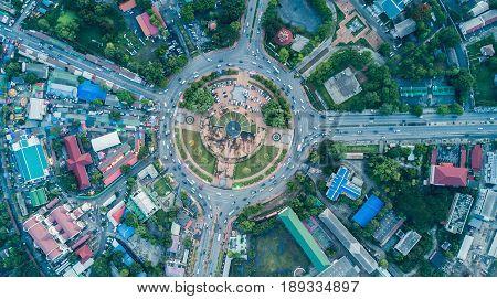 Top View Of King Narai  Traffic Circle, Landmark Of Lop Buri