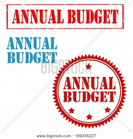 Set of stamps with text Annual Budget,vector illustration