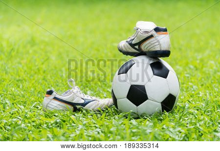 Football On Green Grass And Stud Shoe