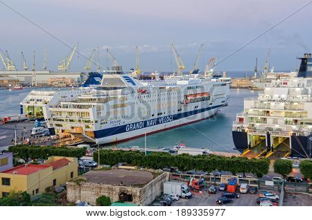 Grandi Navi Veloci ferries are loaded and unloaded in the Port of Palermo Sicily Italy, 20 October 2011