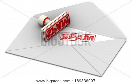 SPAM. Seal and open postal envelope. Red seal and imprint