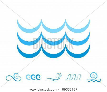 Sea Wave Blue Icons Or Water Liquid Symbols Isolated