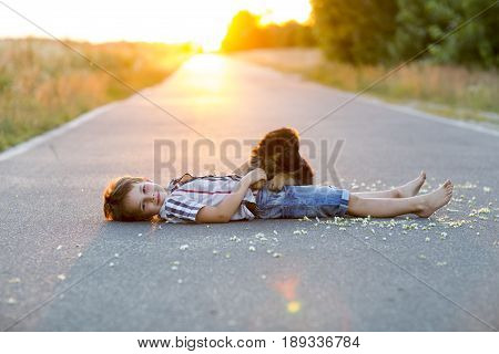 A shepherd puppy gets acquainted with her little master who lies on the asphalt against the sunset