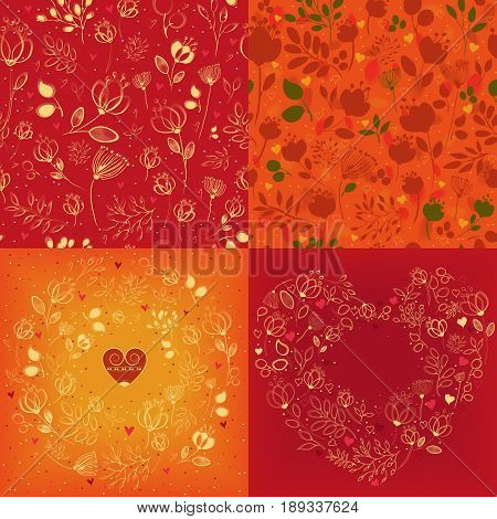 Red and orange heart round and seamless patterns. Delicate silhouettes of flowers and plants. Drawing effect. Ring with vintage small heart. Heart pattern with place for custom text