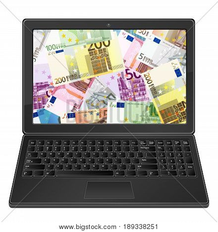 Laptop And Euros Background