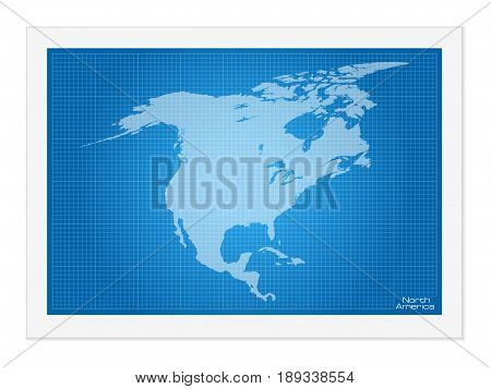North America Map On Blueprint