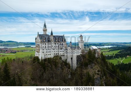 Neuschwanstein castle view from Marienbrucke bridge the famous viewpoint in Fussen Germany