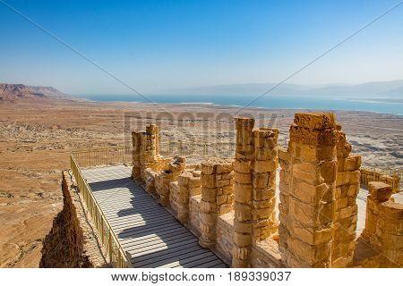 Balcony in the Masada ruins near the Dead Sea in Israel in spring