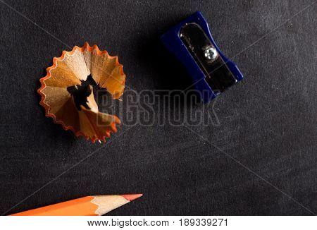 Pencil Sharpener And Pencil Close Up