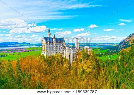 The view of the famous tourist attraction in the Bavarian Alps - Neuschwanstein castle.