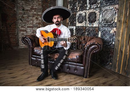 Traditional Mexican musician mariachi in the studio