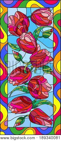 Illustration in stained glass style with tulips on light background vertical orientation