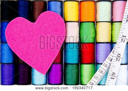 Sewing - Thread - Cotton Reels with pink felt heart and tape measure