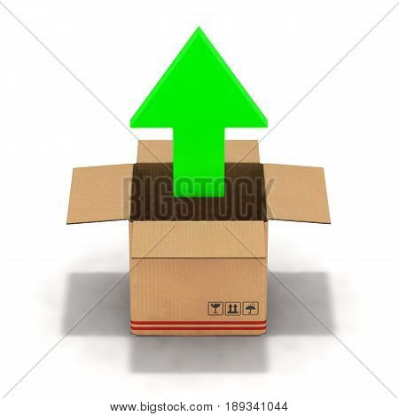 illustration unpacking cardboard box 3d isolated on white