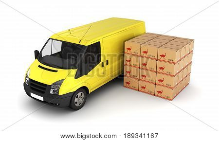 Yellow Delivery Van With Cardboard Boxes 3D