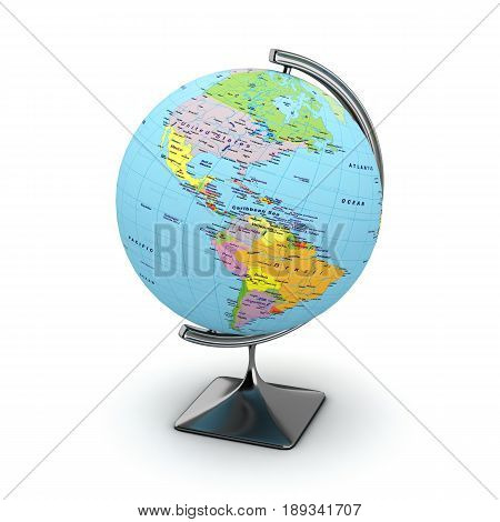 globe isolated on white background 3d render