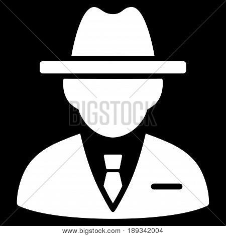 White Agent interface pictogram. Vector pictogram style is a flat symbol on diagonal hatch transparent background.