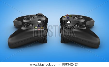 Black Gamepads On Blue Gradient Background 3D