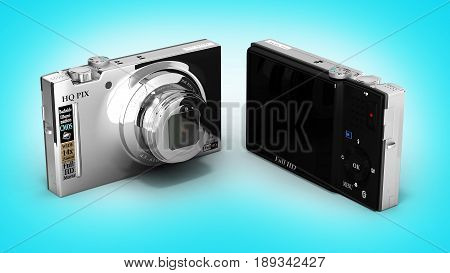 Digital Photo Camera On Blue Gradient Background 3D