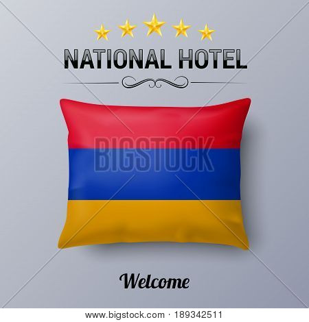 Realistic Pillow and Flag of Armenia as Symbol National Hotel. Flag Pillow Cover with Armenian flag