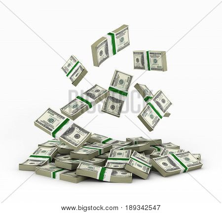 Big Pile Of Money American Dollar Bills On White Background 3D Illustration