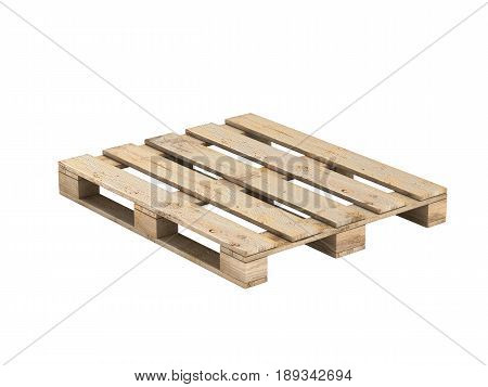 Wooden Pallet Without Shadow. Isolated On White.3D Illustration.