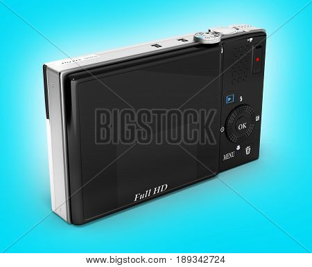 Digital Photo Camera Isolated On Gradient Background 3D Render