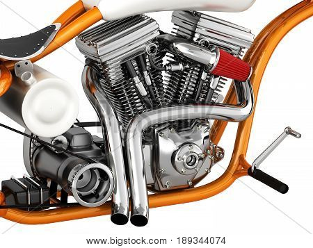 Motorcycle engine v twin on white 3d illustration