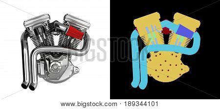 Motorcycle Engine V Twin On White Background With Wirecolor 3D Render