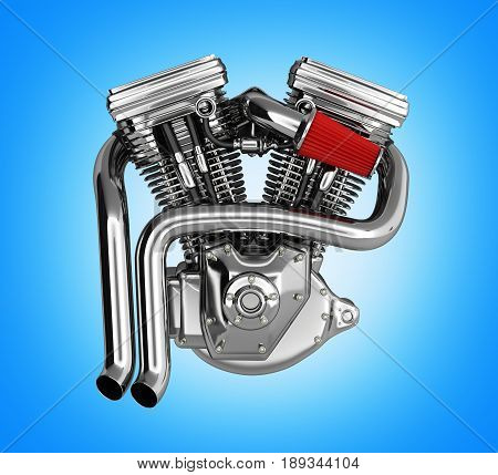 Motorcycle Engine V Twin On Gradient Background 3D