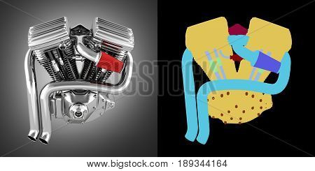 Motorcycle Engine V Twin On Grey Gradient Background With Alpha Colour 3D