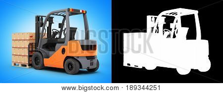 Forklift Truck With Boxes On Pallet Isolated On Blue Gradient Background With Alpha 3D